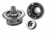 Постер, плакат: Genuine Used Car Transmission Gears Chains Cogs Teeth Splines Worm Gears Bearings Nuts and Bo