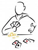 foto of gambler  - Gambler with cards - JPG