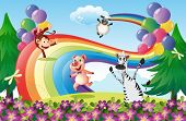 image of hilltop  - Illustration of the animals playing at the hilltop with a rainbow - JPG