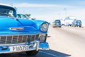 HAVANA,CUBA - JANUARY 20, 2014:Classic Chevrolet parked at the famous Malecon Avenue.Tens of thousan