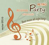 Retro music background - grunge party design - vintage poster art
