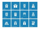 Gift box icons on blue background.