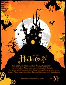 stock photo of halloween  - halloween background or party invitation with haunted house and bats - JPG