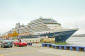QUEBEC CITY, CANADA, OCTOBER 13, 2013 - Holland America Line cruiser in Quebec port