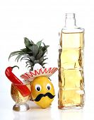 Tequila glass and Mexican style toys of vegetables