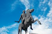 picture of great horse  - Statue of Alexander the Great at Thessaloniki city in Greece - JPG