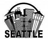 picture of washington skyline  - Seattle Washington Abstract Downtown City Skyline in Circle Black Isolated on White Background Illustration - JPG