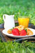 picture of jug  - Breakfast outdoors with croissant and strawberries - JPG