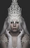 stock photo of queen crown  - Queen of Winter woman wearing crown and white lace - JPG
