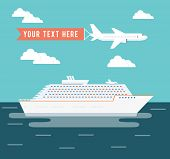 stock photo of passenger ship  - Cruise ship and plane travel vector poster design with a large passenger cruise liner on a voyage across the ocean on a tropical summer vacation and a plane flying overhead with copyspace for text - JPG