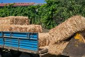 stock photo of tractor-trailer  - Tractor Trailer loaded with bales of hay - JPG