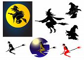 picture of moonlit  - Set of Halloween witches in silhouette flying on her broomstick - JPG