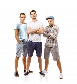pic of mans-best-friend  - Group of young men isolated on white background - JPG