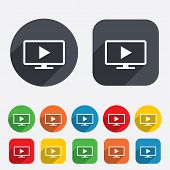 Постер, плакат: Widescreen TV mode sign icon Television set