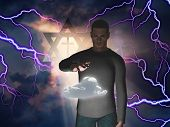 image of tora  - Man Hovers Cloud with Star of David and Cross in Storm with God Rays - JPG