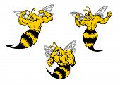 picture of sting  - Angry yellow and black cartoon wasp or hornets with a sting shaking his fist and baring his teeth - JPG