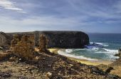 pic of papagayo  - Scenic view of Papagayo beach in Lanzarote Canary Islands Spain - JPG