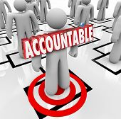 foto of accountability  - Accountable word in 3d letters pinned onto a worker standing on an org chart as placing the blame or making someone a scapegoat for a problem - JPG