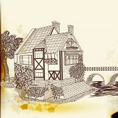 pic of victorian houses  - Hand drawn background with European house - JPG