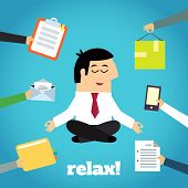 stock photo of crossed legs  - Businessman practicing yoga cross legged lotus asana relaxation technique detachment from documents pressure cartoon character vector illustration - JPG