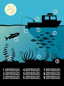 foto of kraken  - Infographic template of night  fishing black colors icons for poster or flyer vector illustration - JPG