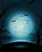 picture of creepy  - Creepy Halloween night with full moon for copy space - JPG