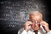 image of slang  - senior and slang on blackboard - JPG