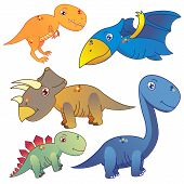 stock photo of pterodactyl  - five lovely dinosaurs set on white background - JPG