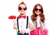 stock photo of smiling  - Portrait of sunny kids smiling at camera - JPG