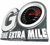 stock photo of mile  - Go the Extra Mile words with speedometer measuring your additional effort or distance traveled to achieve success and your goal - JPG