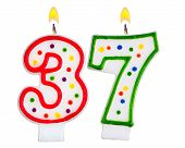 pic of number 7  - Birthday candles number thirty seven isolated on white - JPG