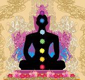 picture of padmasana  - Yoga men silhouette in lotus pose - JPG