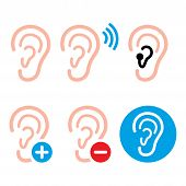 stock photo of deaf  - Hearing problem icons  - JPG