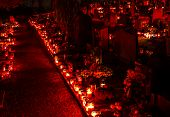 stock photo of bereavement  - Cemetery candles on the first of november Slovenia - JPG