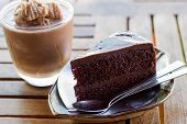 foto of frappe  - Dark Chocolate Cake and Chocolate frappe stock photo - JPG
