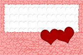 Постер, плакат: Two Red Hearts On White Background Formed From White Hearts