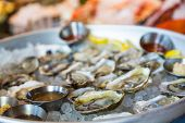 stock photo of oyster shell  - A tray of fresh oysters on the half shell on ice with sauce