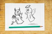 stock photo of maliciousness  - Doodle drawing of angel and devil on white paper as concept of conscience and moral dilemma in fight of good and evil - JPG
