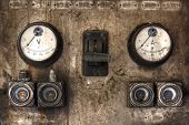 image of fuse-box  - Old Advert for electricity with a big switch and fuses - JPG
