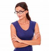 pic of spectacles  - Hispanic woman in purple dress and spectacles looking at you in white background - JPG
