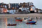 picture of st ives  - The harbour of St Ives after the sun has set Cornwall England - JPG