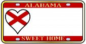 stock photo of alabama  - Alabama state license plate in the colors of the state flag with the flag icons over a white background - JPG