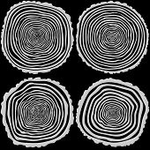 foto of cutting trees  - Set of four vector tree rings background and saw cut tree trunk - JPG