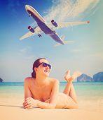 picture of aeroplane  - summer travel - JPG