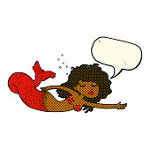 pic of mermaid  - cartoon mermaid with speech bubble - JPG