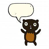 pic of bear-cub  - cartoon black bear cub with speech bubble - JPG