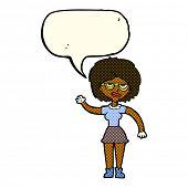 foto of spectacles  - cartoon waving woman wearing spectacles with speech bubble - JPG