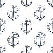 image of anchor  - Retro marine seamless pattern of outline ship anchors with turn of twisted rope on white background - JPG