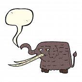 foto of mammoth  - cartoon woolly mammoth with speech bubble - JPG