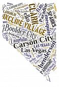 stock photo of state shapes  - Word Cloud in the shape of Nevada showing some of the cities in the state - JPG